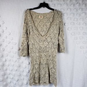 Pins and Needles Cream & Grey Sweater sz Medium